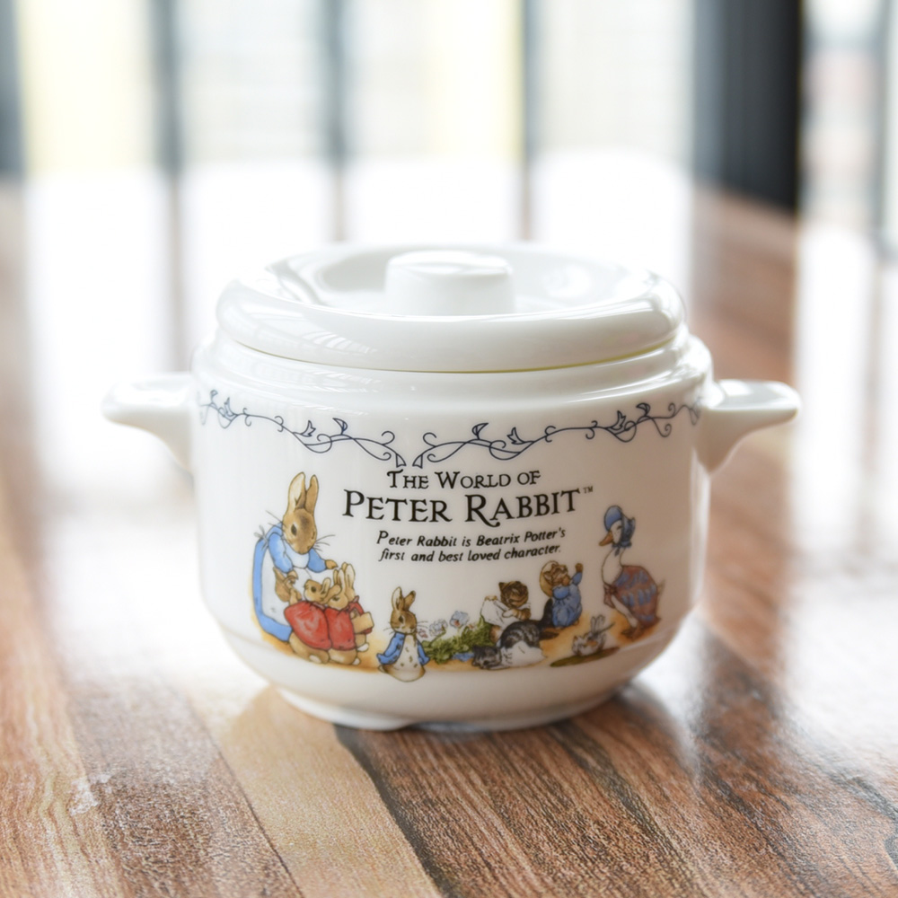 China ceramic water stew stewed bird's nest shark's fin double cover ears Zhongdun soup cans Peter soup pot with cover image