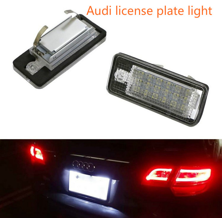 2PCS LED License Plate Number Light For Audi A3 S3 A4 S4 B6 A6 C6 A8