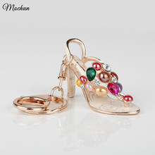 Bling Bling Sandal Shaped Crystal Rhinestone Enamel Graven 3D Cubic Metal Keychain Car Phone Purse Bag Decoration Holiday Gift