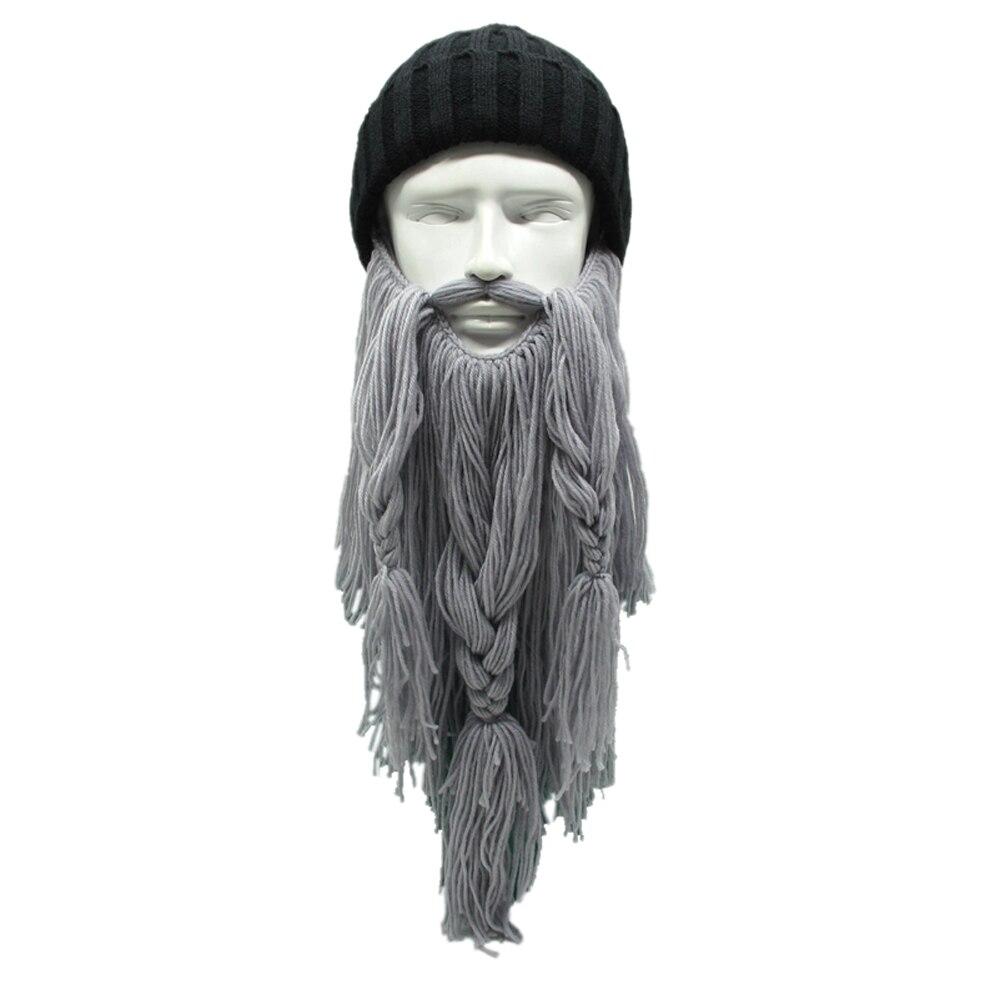 Novelty Knitted Horn Men Women Caps Viking Beanies Beard Handmade ...