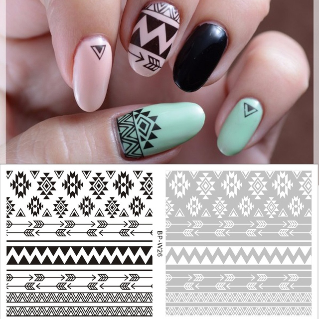 2 Patterns/Sheet Tribal Nail Art Water Decals Aztec Nail Transfer Sticker  BORN PRETTY White - 2 Patterns/Sheet Tribal Nail Art Water Decals Aztec Nail Transfer