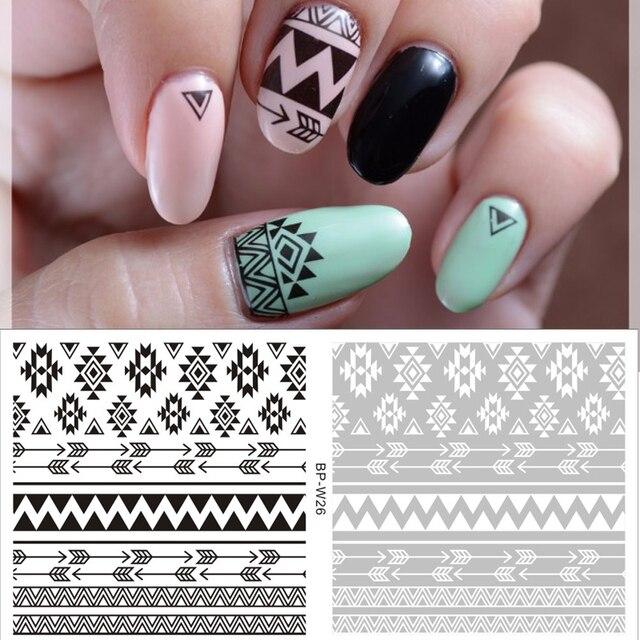 2 Wzory/Arkusz Aztec Tribal Woda Naklejki Nail Art Nail Transferu Naklejki BP-W26 URODZIŁ SIĘ CAŁKIEM Biały Czarny Nail Sticker