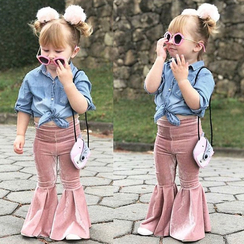 Toddler Kids Girls Bell Bottoms 2018 Fashion Chilren Clothing Stretch Girl Leggings Flare Pants Infant Soft Solid Trousers