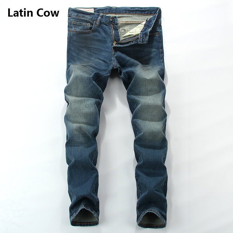 Luxury Denim Distressed Stretch Jeans Men Latin Cow Brand Clothing High Quality Mid Stripe Men`s Moto Biker Jeans Uomo 801-C rl629 men s blue jeans slim fit denim ripped pants uomo high quality designer brand clothing moto biker jeans with logo men
