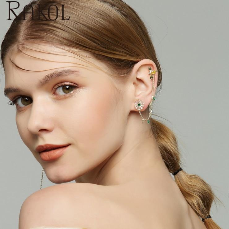 RAKOL Dress-Accessories Chain Bee-Flower-Earrings Cubic-Zircon Fashion Fun Women EL1021