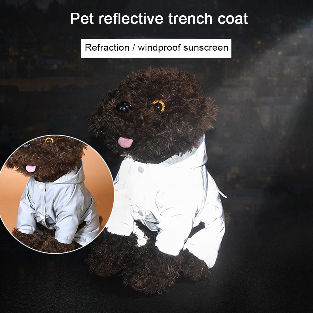Lovely Dog Raincoat Waterproof Lightweight Dog Night Reflective Jacket Poncho with Button High Quality Hogard JY24