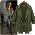 2016 Fashion Spring Autumn Thin Women Trench Coat Long Outwear Plus Size Loose Womens Coats Windbreaker Women Army Green