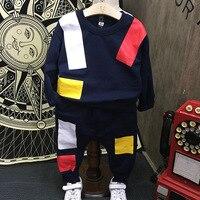 Brand Autumn Fashion Children's Tracksuit Cotton Velvet Sport Suits for Boy Black Pullover+casual Pant Suits Boys Casual Outfits