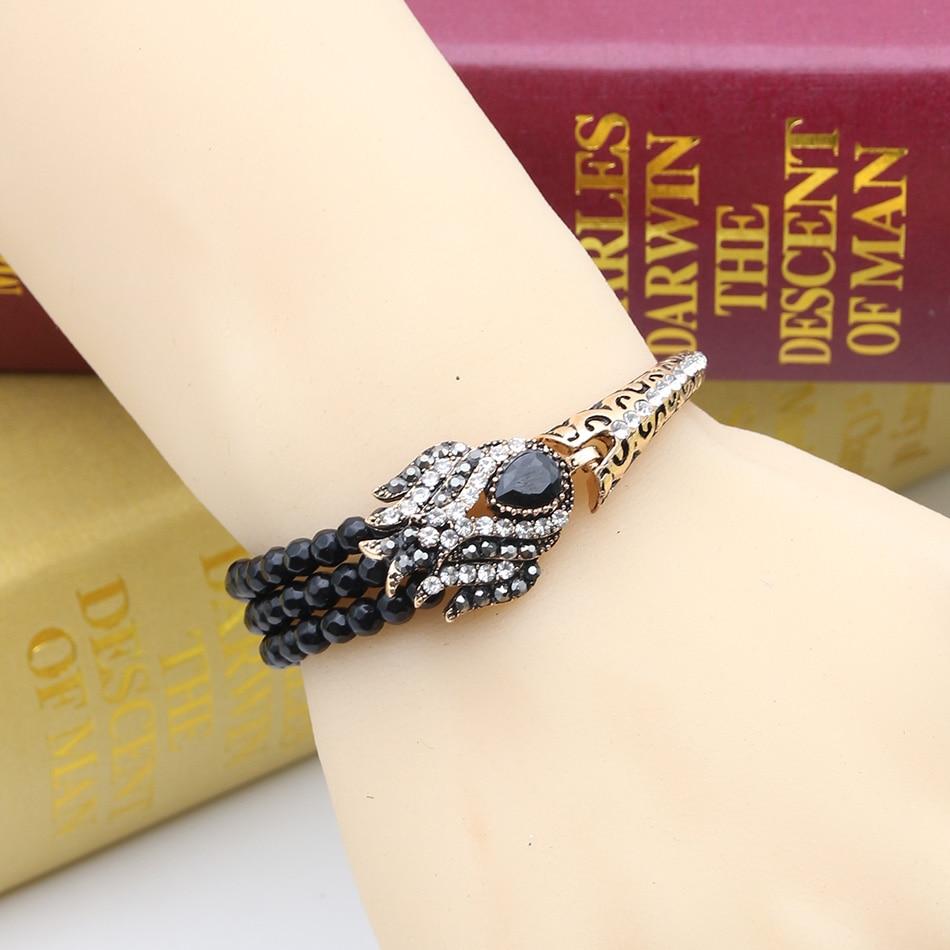 Gelang Pautan Manik Wanita Turki Antik Tulip Resin Manset Piring Emas - Perhiasan fesyen - Foto 2