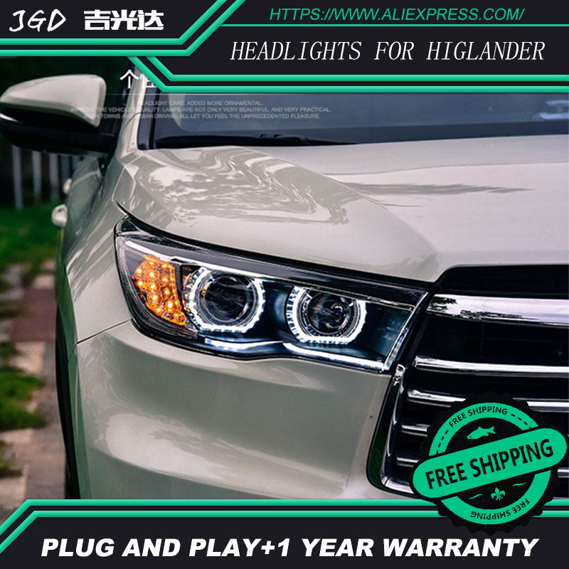 Auto Clud Car Styling For Toyota Higlander headlights 2015 head lamp led DRL front Bi-Xenon Lens HID auto clud style led head lamp for benz w163 ml320 ml280 ml350 ml430 led headlights signal led drl hid bi xenon lens low beam