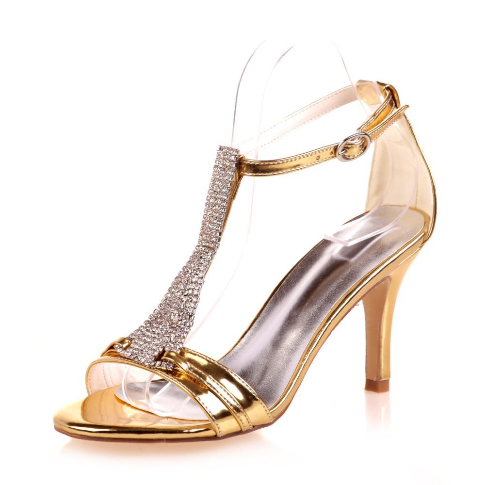 Creativsugar Lady Crystal T Strap Sandals Rhinestone Party Tail Dress Metallic Vanish Pu Gold Silver Blue Shoes Heel In High Heels From On