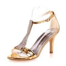Metallic frau kristall T riemen high heel sandalen strass partei cocktailkleid schuhe sexy high heels gold silber blau pumpen