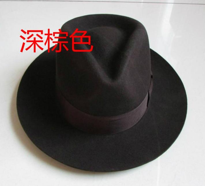 Wool Fedora Hat Unisex Felt Fedoras Hats Adult Fashion Trilby Hats Popular Headwear Wool Fedora Trilby Hats Man's Cap  B-8130 6