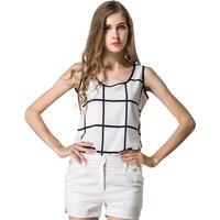 Les nouveaux vêtements pour femmes sans manches noir et blanc plaid d'été neige tourne vêtement supérieur sans doublure de L'europe et L'amérique