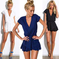 New Women Sexy Romper Trousers Clubwear V-Neck Solid Short Sleeve Cotton blend