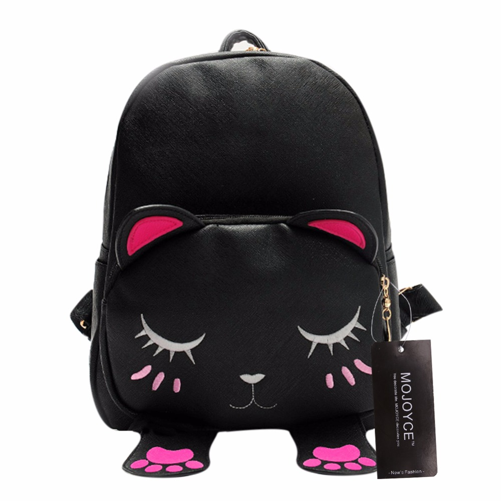 Fashion Female Lovely Cartoon Cat Backpack Women PU Leather Mini Travel Rucksack Girls Cute School Bag Mochila Bolsas