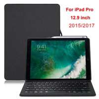 For iPad Pro 12.9 Case Keyboard Pencil Holder Luxury Leather Smart Rotatable Protector Cover For iPad 12.9 2017/2015 Case Capa
