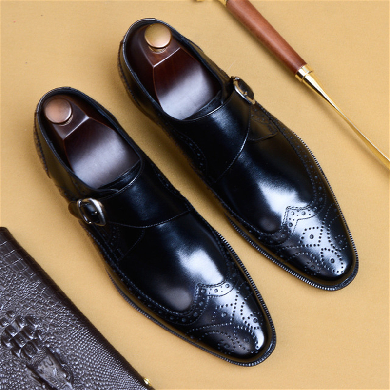 رجل أحذية من الجلد جلد طبيعي أكسفورد أحذية للرجال فستان فاخر الأعمال slipon الزفاف تصليحه الجلود مشبك الأحذية-في أحذية رسمية من أحذية على  مجموعة 3