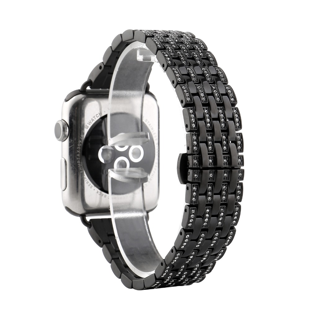 High Quality Crystal Rhinestone Diamond Watch Bands for Apple Watch Bands 38mm 42mm Stainless Steel Bracelet Strap For Iwatch image