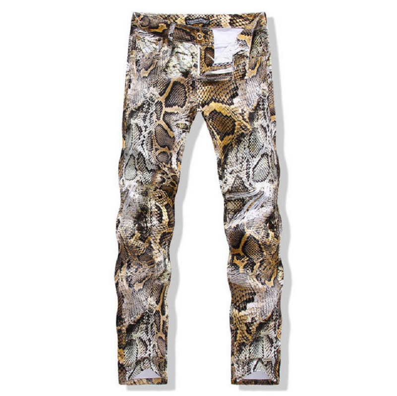 Fashion Brand Men's Slim Colored Drawing Flower Print Jeans Male Snakeskin Painted Denim Pants Trousers Free Shipping