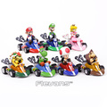Супер Mario Brothers Pull Back Racers  тачки  Mario Luiji Peach Bowser Toad Ослик  Kong Yoshi  ПВХ фигурки  коллекционные игрушки
