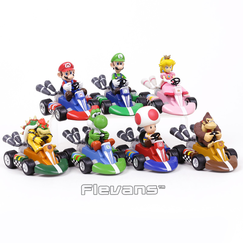 Super Mario Brothers Pull Back Racers Cars Mario Luiji Peach Bowser Toad Donkey Kong Yoshi PVC Figures Collectible ToysSuper Mario Brothers Pull Back Racers Cars Mario Luiji Peach Bowser Toad Donkey Kong Yoshi PVC Figures Collectible Toys