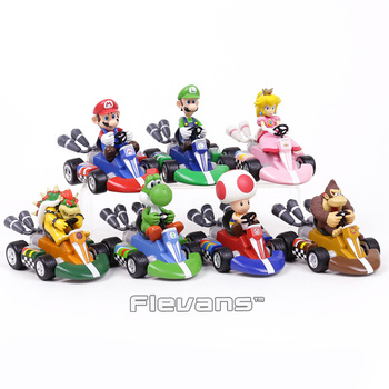 Super Mario Brothers Pull Back Racers Cars Mario Luiji Peach Bowser Toad Donkey Kong Yoshi PVC Figures Collectible Toys