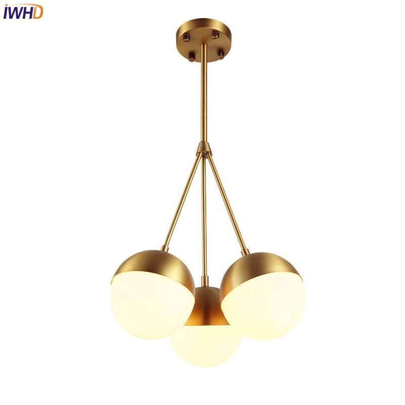 IWHD Nordic Modern Simple LED Pendant Light Fixtures Dinning Room Brass Glass Ball Pendant Lights Lamparas Colgantes Lighting