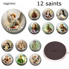 12 Saint Fridge Magnet St Clare Michael Paul Anthony Patrick Valentine Christian Catholic Refrigerator Stickers Magnetic Decor