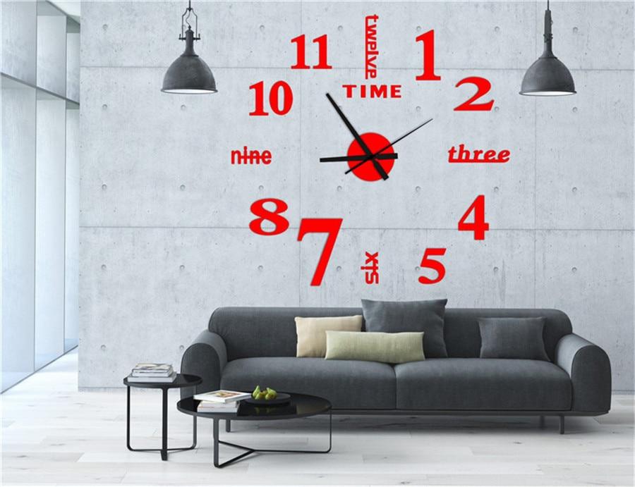 watch wall clock modern math horloge vintage wall wanduhr mirror silent sticker living room quartz klok watch decor for home  (8)