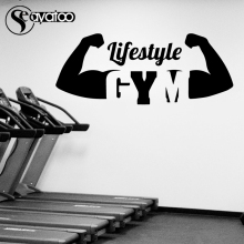 Seayatoo Lifestyle Gym Gymnasium Vinyl Wall Sticker Decal Athletes Muscle Sports Fitness Bodybuilding Workout Quote Words