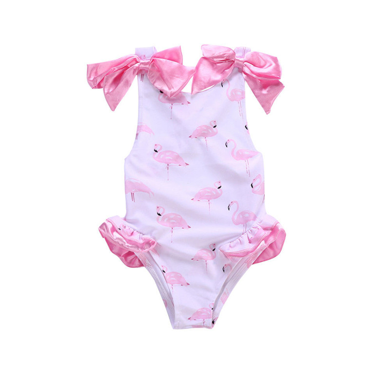 Hot Sale Soft Toddler Kid Baby Girl Cartoon Bow-knot Print Swimwear Swimsuit Swimming Holiday Baby Girl Clothes 1-5T