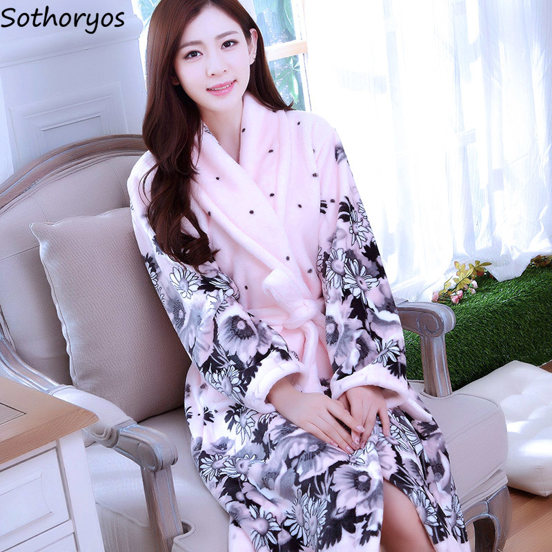 Image 1 - Robes Women Thicker Turn down Collar Pockets Warm Long Sleeve Printed Kawaii Bathrobes Womens Mid calf Flannel Trendy Homewear-in Robes from Underwear & Sleepwears