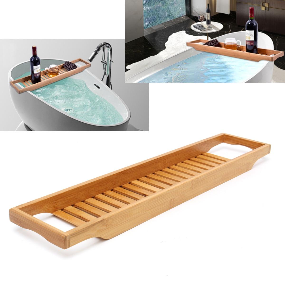 New Bathroom Bamboo Bath Holder Bath Shelf Caddy Wine Holder Tub ...