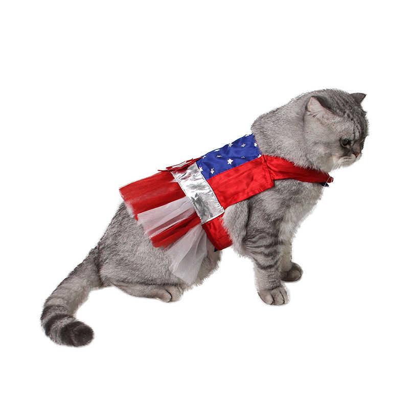 Stile americano Rosso Blu Stripe Stella Pet Dog Cat Costume Cosplay Perform Cloth Mantello Regalo Di Festa di Compleanno Forniture Per Animali Da Compagnia
