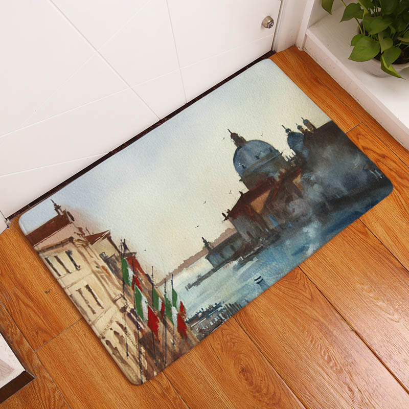 Western Building Printing Flannel Carpet For Living Room Tapete 40x60cm  Hallway Rectangle Mat 95f2339a2e