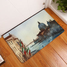 Western Building Printing Flannel Carpet For Living Room Tapete 40x60cm Hallway Rectangle Mat(China)