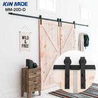 KIN MADE Double panel Antique Style Steel Sliding Barn Door Closet Hardware Kit Closet sliding hardware|Slides|Home Improvement -