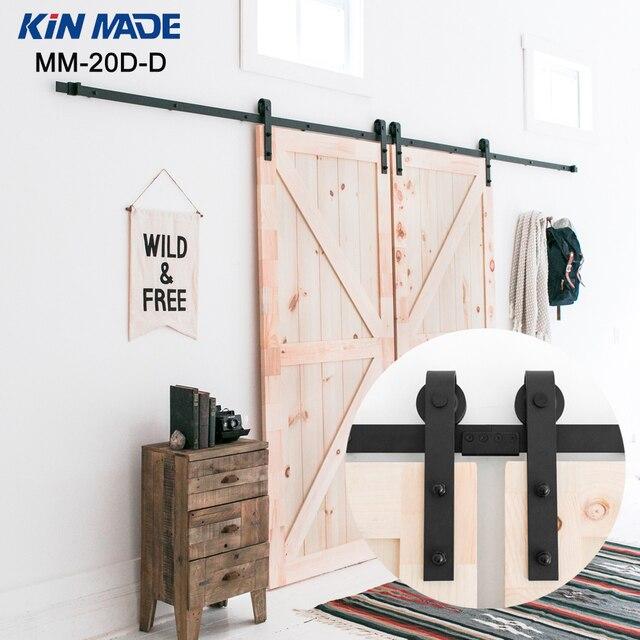 Kin Made Double Panel Antique Style Steel Sliding Barn Door Closet