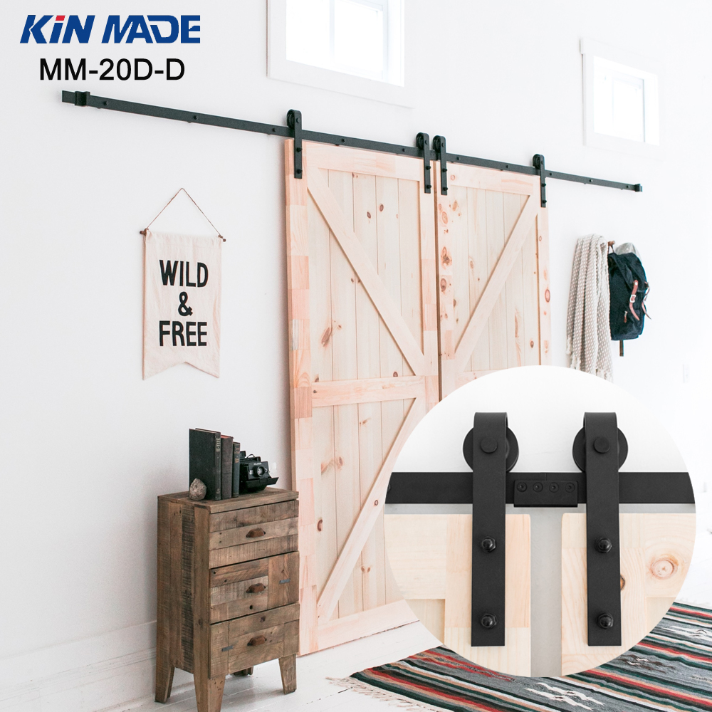 KIN MADE Double panel Antique Style Steel Sliding Barn Door font b Closet b font Hardware