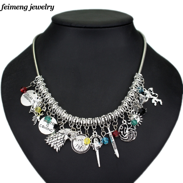 Movie Jewelry DIY Game of Thrones Charm Necklace Vintage Fashion Metal Pendant  Accessories For Fans Collection Wholesale Cheap