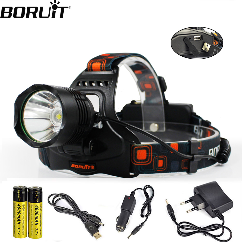 BORUiT XM-L2 LED HeadLamp Power Bank 5-Mode 1200LM Headlight 18650 Battery Head Torch Camping Hunting Waterproof Flashlight
