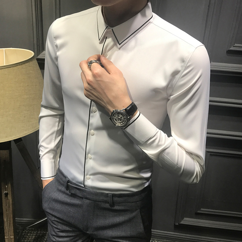Black White solid color Male Casual Shirts England Spring Autumn Mens long sleeve slim shirt Groom Wedding clothes stage outfit
