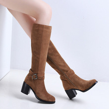 Leather Boots Buckle Strappy Women Snow Shoes Winter Lady Fur Booties Nubuck Leather Knee High Female Thick Heel Shoes