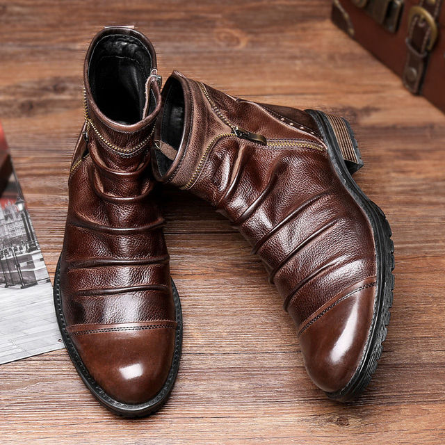 HOT !!! Genuine Leather Mens Round Toe Pleated Business Man Martin Boots Retro Cowboy Zipper Soliders Ridding Boots