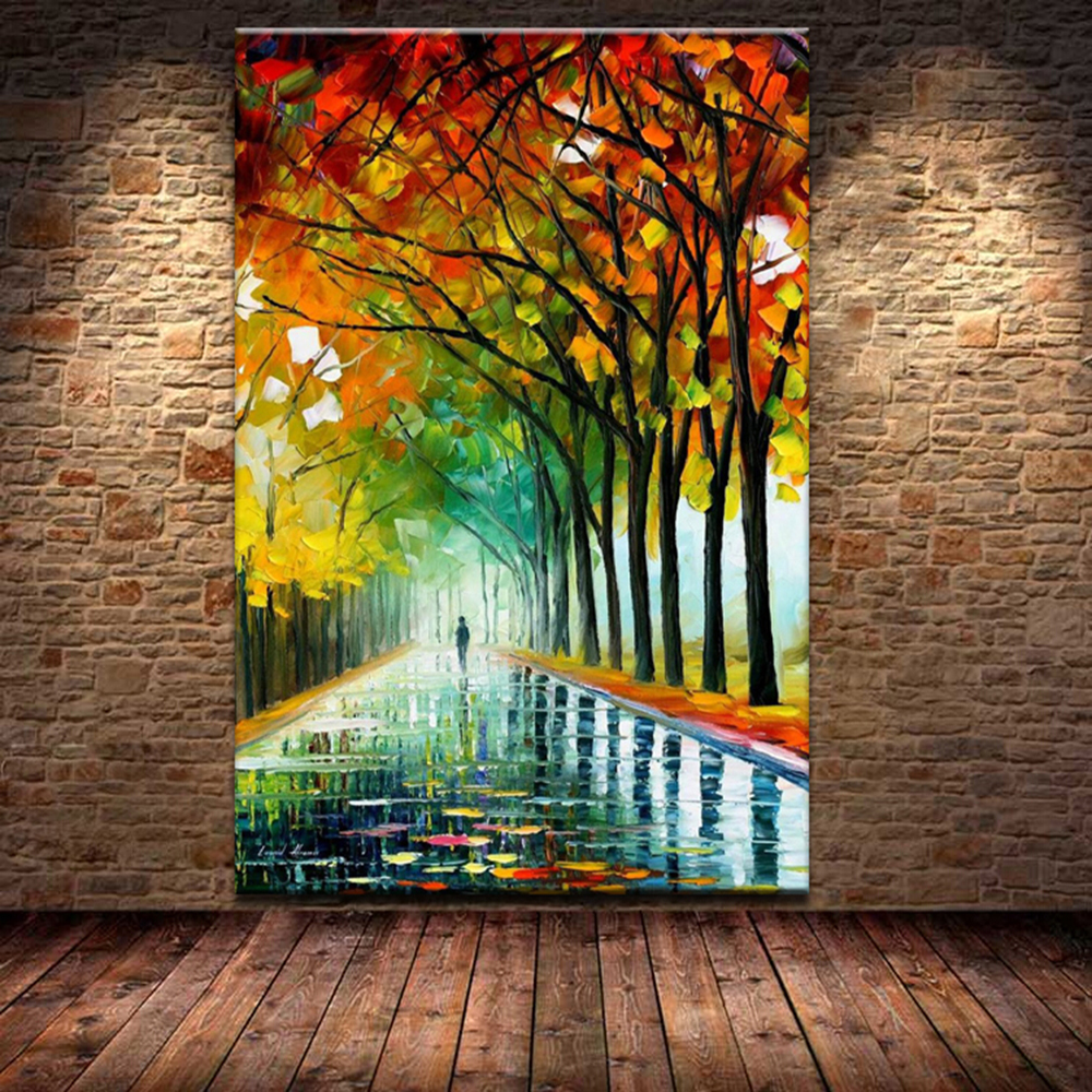 Free Shipping knife The vibrant autumn street trees 100% ...