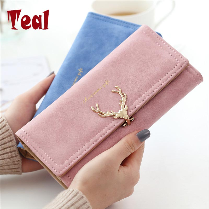 2017 New Fashion Women Purse Retro Female Purse Women Soft Faux Suede Women S Purse Two