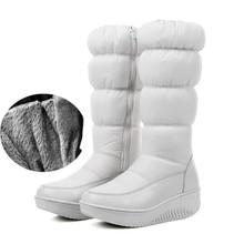 44 Водонепроницаемый Пух ткань Снегоступы Клин Обувь для танцев 2017 зимние плюшевые Мех теплые высокие зимние сапоги женский хлопок Обувь молния сбоку