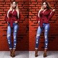 2016 Новая Россия Осень Зима Женская Мода Блузки рубашки Случайные элегантный Sexy Длинным Рукавом Плед Женщин Блузка Рубашки Топы Blusas