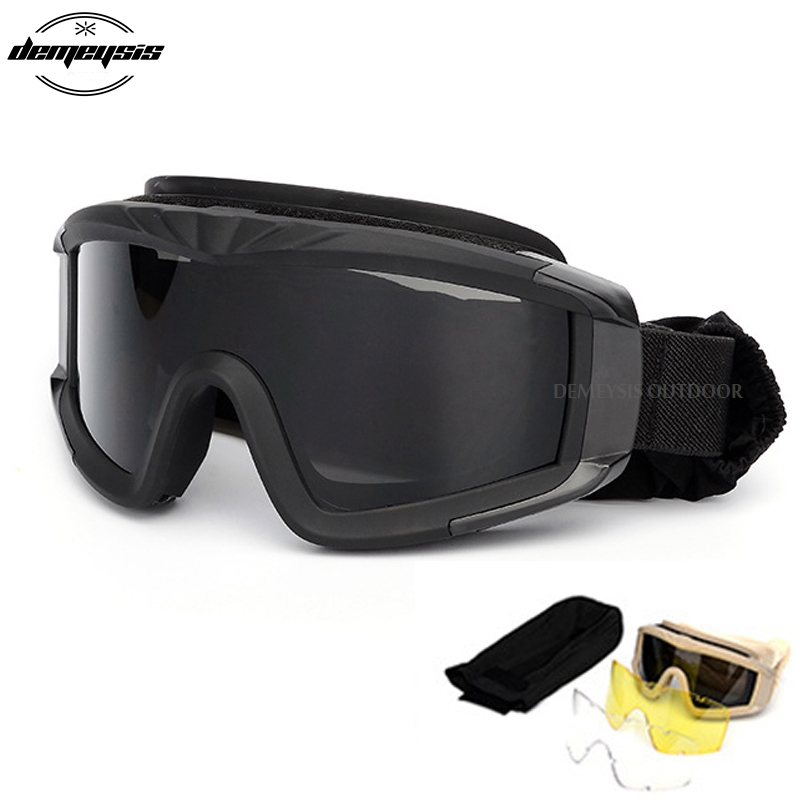 Black tan green Military Tactical Goggles Oculos Airsoft Glasses Paintball Shooting Glasses
